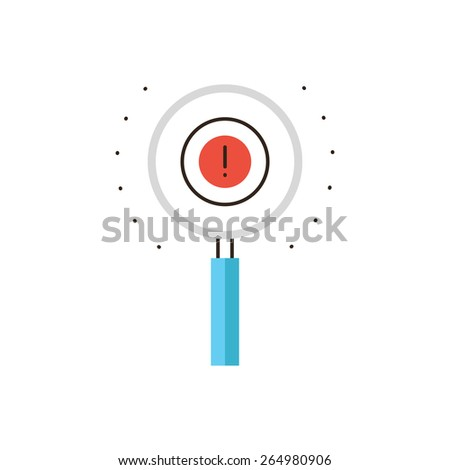 Thin line icon with flat design element of magnifying glass, find solution, search evidence, know how, exclamation mark, solve problem. Modern style logo vector illustration concept. - stock vector