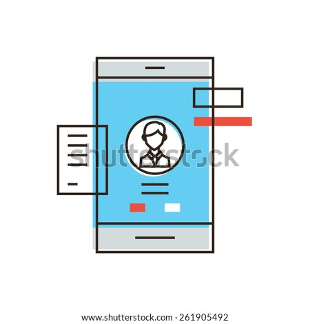 Thin line icon with flat design element of mobile user interface, smartphone UI experience, personal profile management, login UX and registration form. Modern style logo vector illustration concept. - stock vector