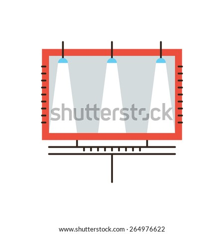 Thin line icon with flat design element of promotion marketing, advertisement billboard, outdoor advertising, poster advertise space. Modern style logo vector illustration concept. - stock vector