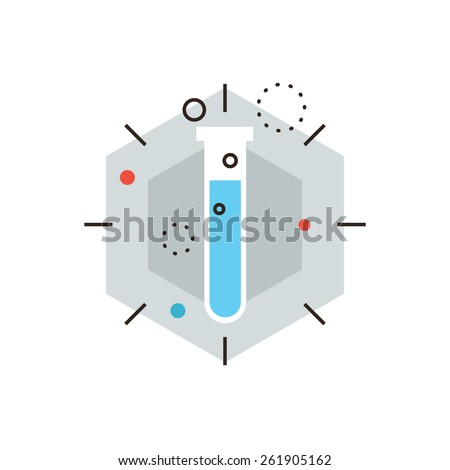 Thin line icon with flat design element of scientific discovery, laboratory trial, medical flask, search for innovation, chemical reaction. Modern style logo vector illustration concept. - stock vector