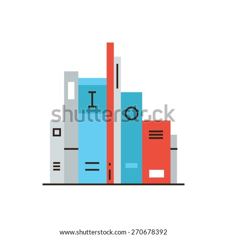 Thin line icon with flat design element of shelf with books, science fiction literature, bookshelf with education information, learn from textbook. Modern style logo vector illustration concept. - stock vector