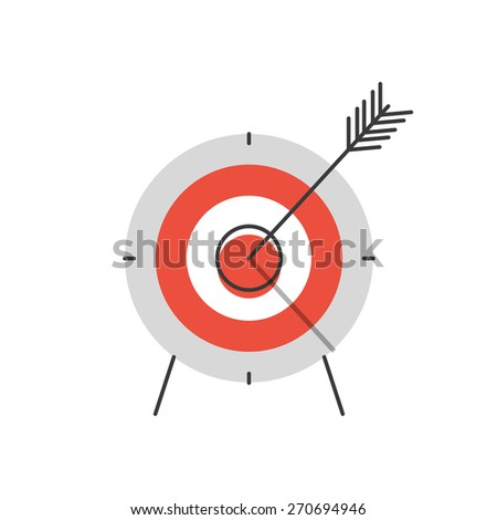 Thin line icon with flat design element of success target focus group, aiming for objective market, direct hit in bulls eye, opportunity solving problems. Modern style logo vector illustration concept - stock vector
