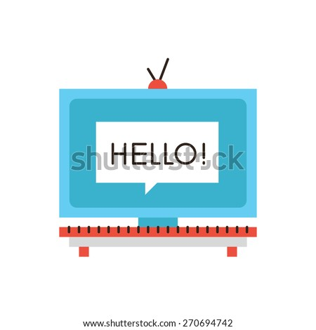 Thin line icon with flat design element of television media advertisement, promotional marketing, advertising splash screen on TV display. Modern style logo vector illustration concept. - stock vector