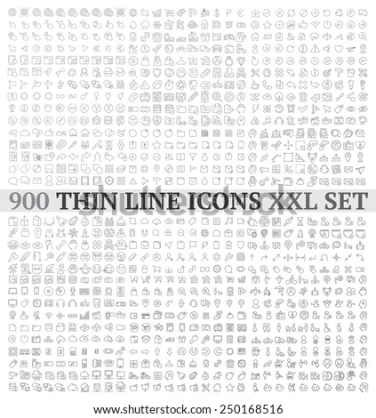 Thin line icons exclusive XXL icons set contains: universal  interface, navigation, people, web store, finance themes, and many other. - stock vector