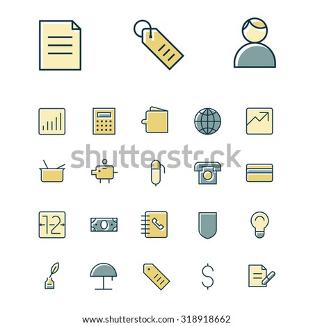 Thin line icons for business, finance and banking. - stock vector