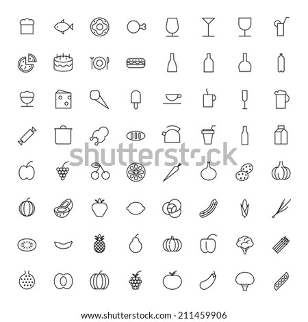 Thin Line Icons For Food and Drinks. Vector eps10. - stock vector