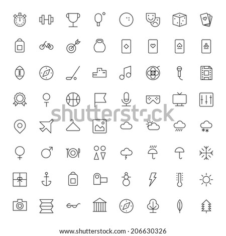 Thin Line Icons For Leisure, Sport, Travel and Weather. Vector eps10. - stock vector