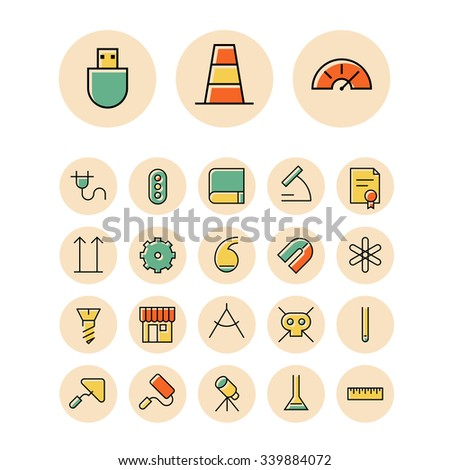 Thin line icons for science and industrial. Vector illustration. - stock vector