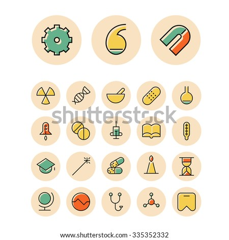 Thin line icons for science and medical. Vector illustration. - stock vector