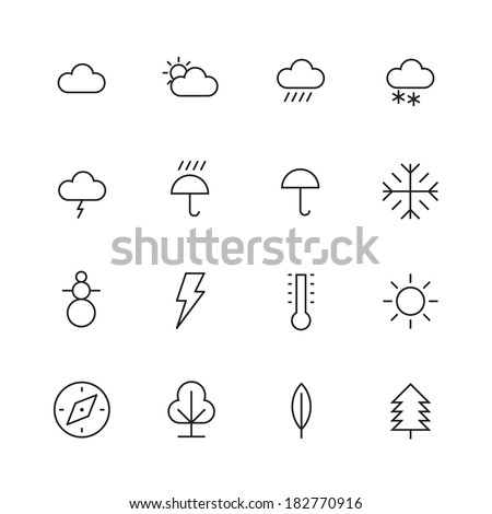 Thin Line Icons For Weather and Nature. Vector eps10. - stock vector
