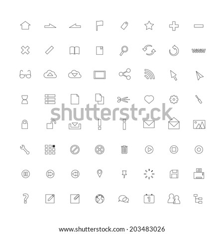 Thin line icons for Web and Mobile.vector design. - stock vector