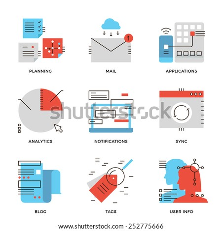 Thin line icons of business data analytics, people workflow planning and communication solution, mobile apps update message. Modern flat line design element vector collection logo illustration concept - stock vector