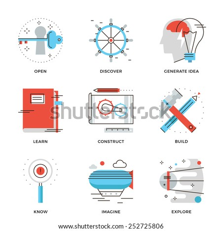 Thin line icons of conceptual vision, thinking out the box, innovation develop, business invention, discovery new things. Modern flat line design element vector collection logo illustration concept. - stock vector