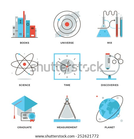 Thin line icons of discovery new things, planet and universe research, science and scientific experiment, books knowledge. Modern flat line design element vector collection logo illustration concept. - stock vector