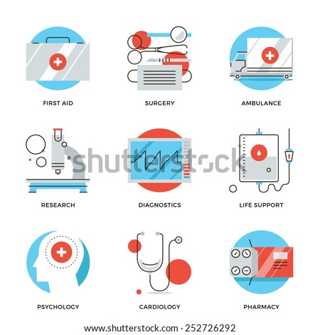 Thin line icons of medical services, diagnostic equipment, surgery tools, psychology and pharmacology, ambulance emergency. Modern flat line design element vector collection logo illustration concept. - stock vector