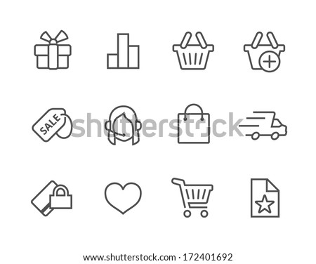 Thin line icons related to e-commerce - stock vector