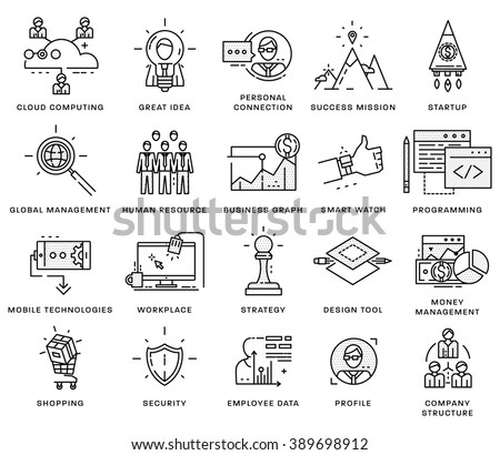 Thin Line Icons Set. Business Elements for Websites, Banners, Infographic Illustrations. Simple Linear Pictograms Collection. Logo Concepts Pack for Trendy Designs. Premium Quality Pictogram Pack - stock vector