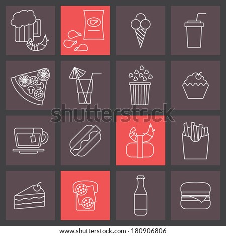 thin line icons set, fast food collection - stock vector