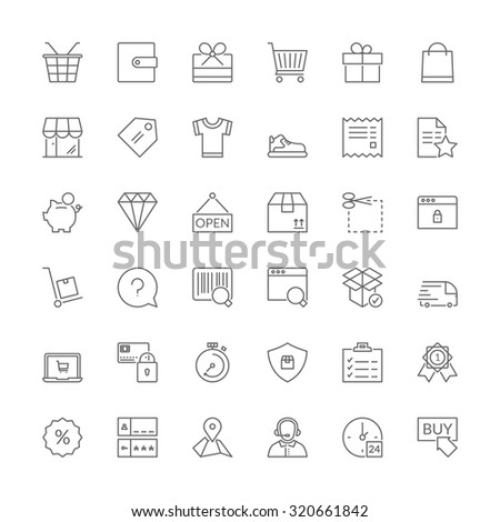 Thin line icons set. Flat symbols about shopping - stock vector