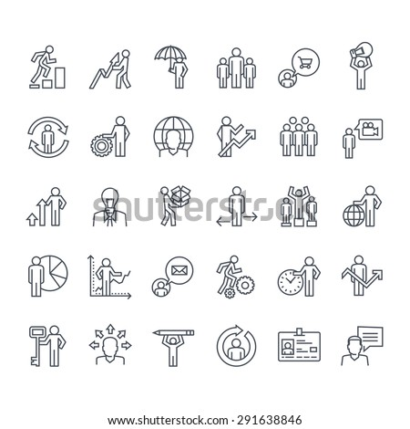 Thin line icons set. Icons for business, insurance, strategy, planning, analytics, communication.     - stock vector