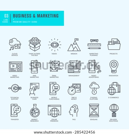 Thin line icons set. Icons for business, marketing, e-commerce.     - stock vector