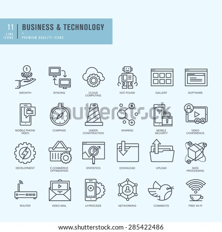 Thin line icons set. Icons for business, technology.     - stock vector