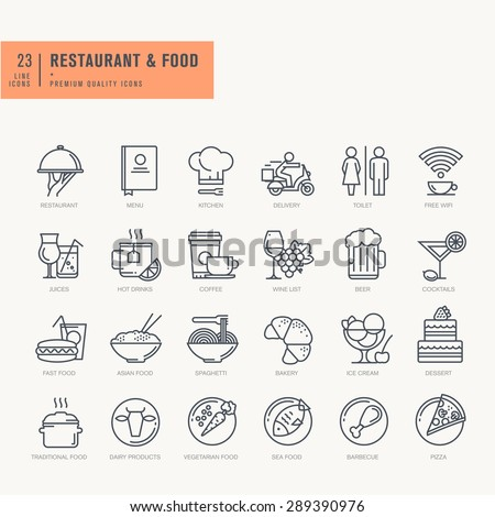 Thin line icons set. Icons for food and drink, restaurant, cafe and bar, food delivery. - stock vector