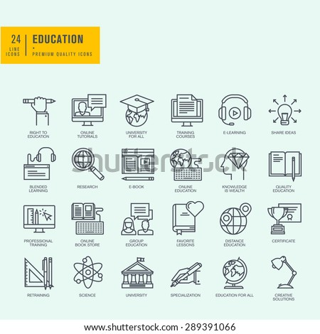 Thin line icons set. Icons for online education, online tutorials, training courses, online book store, university. - stock vector