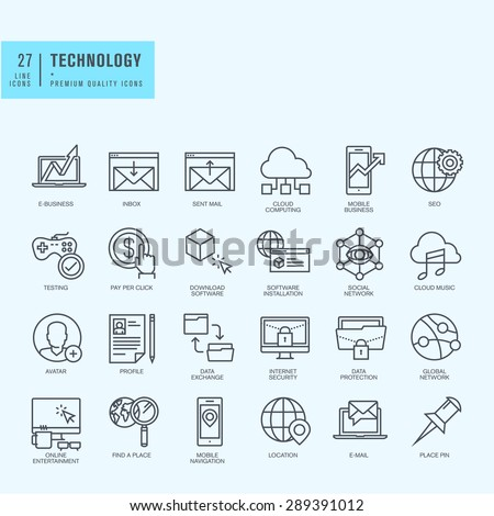 Thin line icons set. Icons for technology, e-commerce, finance, online entertainment, navigation, cloud computing, internet protection, business, app, social media. - stock vector