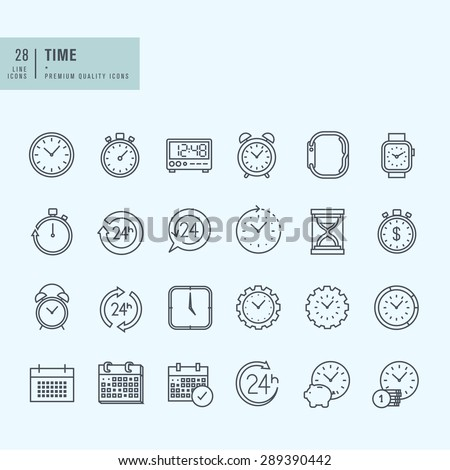 Thin line icons set. Icons for time and date. - stock vector