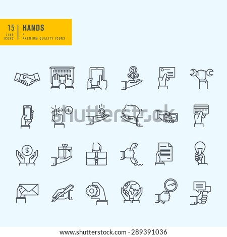 Thin line icons set. Icons of hand using devices, using money, in business situations, communication. - stock vector