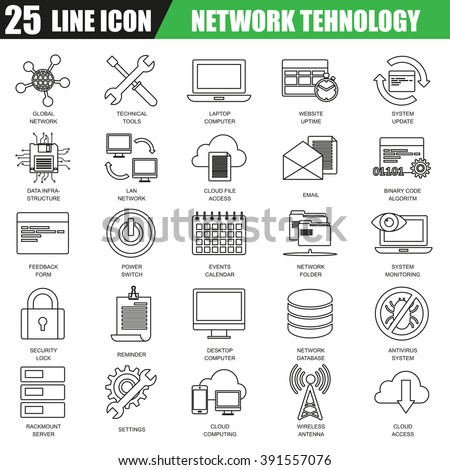 Thin line icons set of cloud computing data network technology services, global connection. Modern flat linear concept pictogram, set outline symbol for graphic and web designers. - stock vector