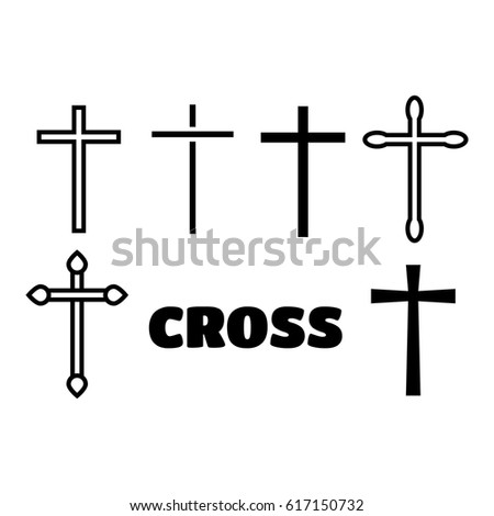 Thin line icons set of crosses. Illustration of crosses eps10