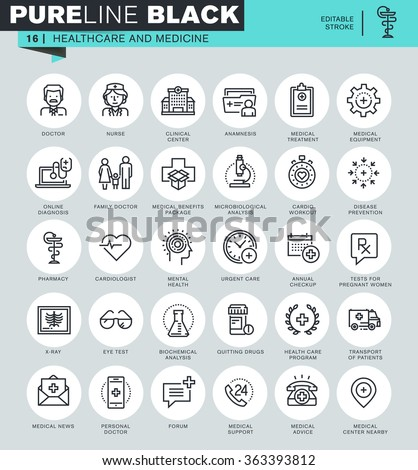Thin line icons set of healthcare and medicine, hospital services, laboratory analyzes. Icons for website and mobile website and apps with editable stroke.  - stock vector