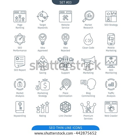 Thin Line Icons Set Of Internet And Development. Web Elements Collection - stock vector
