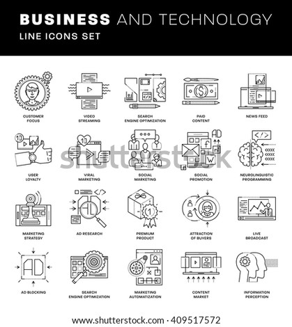 Thin Line Icons Set. Simple Linear Pictogram Collection for Web Design. Stroke Logo Concept Pack. Advertising, Social Marketing, Content Management, SEO and Promotion Concept. Vector Illustration - stock vector