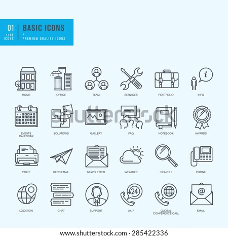 Thin line icons set. Universal icons for website and app design.     - stock vector