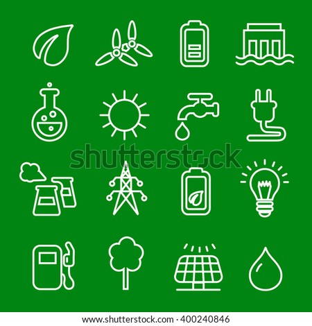 Thin line icons vector set of power natural renewable  energy,