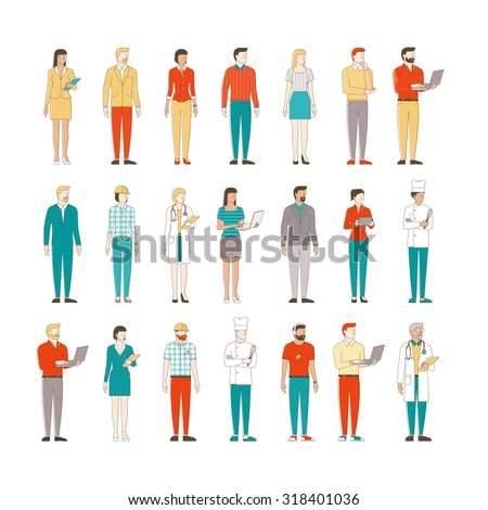 Thin line male and female characters on white background, business people and workers - stock vector