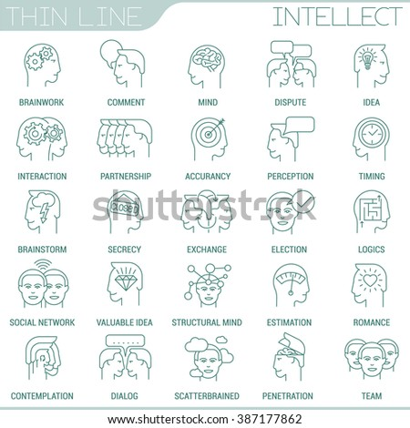 Thin line marketing and strategy vector interface icon set - stock vector