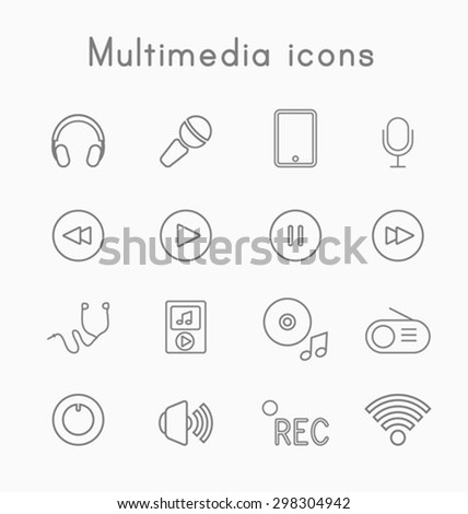 Thin line media icons - stock vector