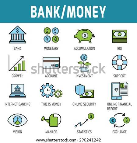 Thin line modern icons vector collection of bank and money.