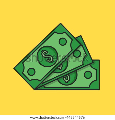Thin line money icon. Three dollar banknotes. Modern clean flat design graphic elements for banners, websites, mobile app, infographics, printed materials. Vector illustration - stock vector