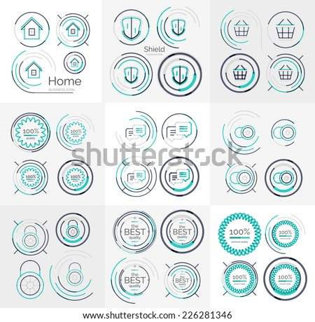 Thin line neat design large logo colletion - 36 vector clean modern icons and stamps - stock vector