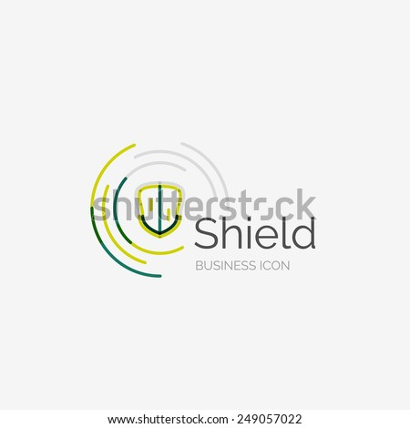 Thin line neat design logo, clean modern concept, shield icon - stock vector
