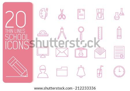 thin line office set icons school concept. Vector illustration design - stock vector