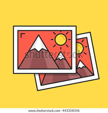 Thin line photos icon. Two pictures with mountains and sun. Modern clean flat design graphic elements for banners, websites, mobile app, infographics, printed materials. Vector illustration