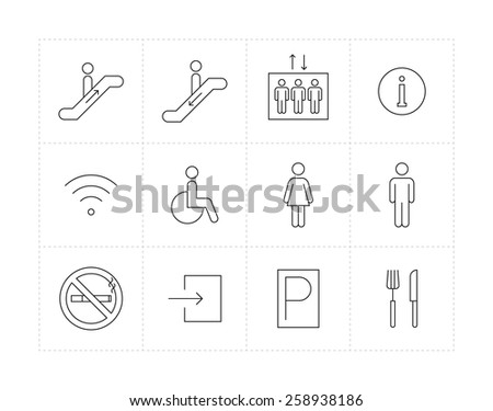 Thin line public signs icon set - stock vector
