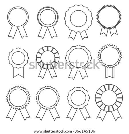 Thin line rosette icon set - stock vector