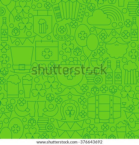 Thin Line Saint Patrick Day Seamless Green Pattern. Vector Design and Tile Background in Trendy Modern Style. Thin Outline Irish Holiday Art.